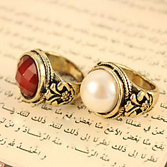 Women's Vintage Round Pearls Precious Stones Carved Rings