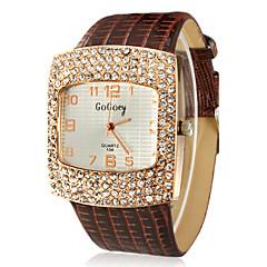 Kvinnors Square Diamante Dial PU Band Quartz Analog Wrist Watch (blandade färger)