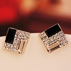 Women's Korean OL noble black and white box Twinkle diamond earringsE549