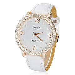 Women's Birds Pattern Dial PU Band Quartz Analog Wrist Watch (White)