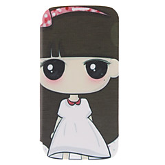 Cartoon Girl Pattern Leather Hard Case for Samsung Galaxy S4 I9500