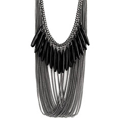 Fashion Black Multilayer drop necklace N59