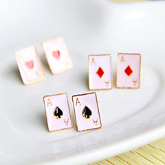 Women's  Poker Shape enameled earrings (random color)