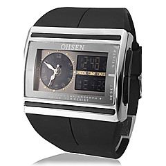 Män Multi-Function Analog-Digital Steel Square Dial PU Band Wrist Watch