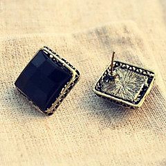 Women's Korean Fashion Simple Black Box Earrings