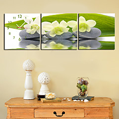 "12 Country Style Flower Wall Clock ""-24"" En toile 3pcs"