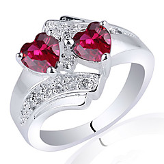 Lady Chic 925 terling ilver Ring With Twin-Heart 5Mm Zircon