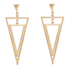 Alloy Golden Double Triangle Drop Earrings