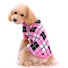 Dog Sweater Pink Dog Clothes Winter / Spring/Fall Plaid/Check Cute / Keep Warm