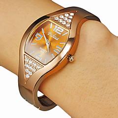 Kvinnors Square Dial Diamante Brun Alloy Band Quartz Analog Bracelet Watch