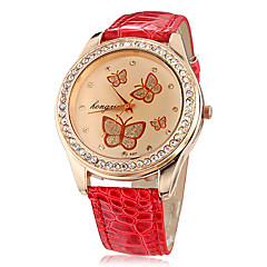 Women's Butterfly Pattern Diamante Round Dial PU Band Quartz Analog Wrist Watch (Assorted Colors) Cool Watches Unique Watches