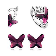 mode silverpläterade (inkluderar halsband & örhängen & ring) smycken set (svart, lila, gul)