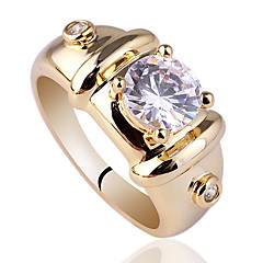 Gold Plated Sterling Silver 925 Ring For Men With 7Mm Round Shape Zircon