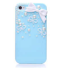 Pearl Bowknot Pattern Metal Jewelry Back Case for iPhone 4/4S