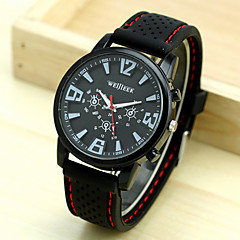 Men'S White Black Dial Black Silicone Band Outdoor Sport Quartz Analog Wrist Watch