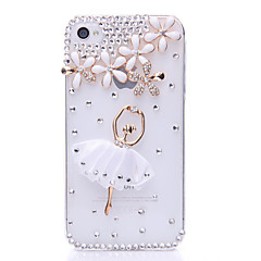 Ballet Five-leaved Clover Pattern Metal Jewelry Back Case for iPhone 4/4S