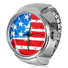 Női amerikai zászló minta ezüst ötvözet Quartz gyűrű Watch