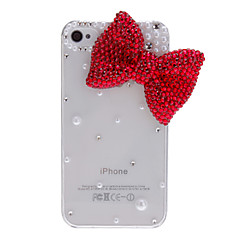 Shimmering Bow Tie with Pearls Covered Transparent Hard Case with Nail Adhesive for iPhone 4/4S (Assorted Colors)