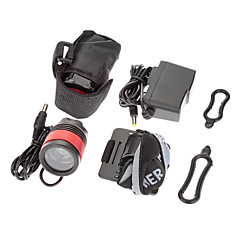 3-Mode 1xCree XM-L T6 LED Polkupyörän Front Light / Ajovalojen (1000LM, 4x18650, musta + punainen)
