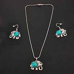 Conjuntos vintage azul turquesa (colgante, collar, pendientes de gota) Joyería