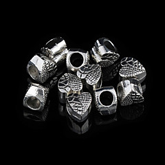 Sweet Heart Silver Alloy Charms 20Pcs/Bag (Silver)