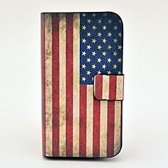 """תבנית דגל ארה""""ב וינטג נרתיק עור PU עם הצמד מגנטי וחריץ לכרטיס לסמסונג גלקסי S3 מיני I8190"""