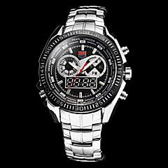 Homens analógico-digital Multi-Function Prata Steel Band relógio de pulso (cores sortidas)