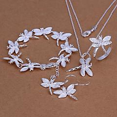 sød forsølvede (halskæde og ring og øreringe og armbånd) smykker sæt (sølv)
