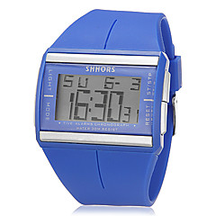 Unisex Multi-Functional Digital Rectangle LCD Rubber Band Wrist Watch (Assorted Colors)