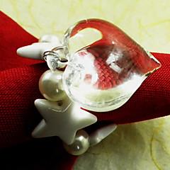 Sydämen muotoinen häät lautasliinarengas sarja 12, akryyli Dia 4.5cm