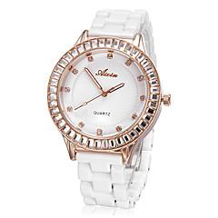 Simple Rose Diamante or cadran rond imitation céramique de quartz de bande analogique montre-bracelet (Big) des femmes