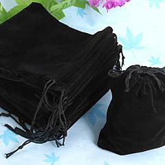 50stk 10x12cm sort fløjl snøre fest håndværk gaveposer