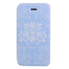 Blue Ground Flower Pattern PU Leather Full Body Case for iPhone 4/4S