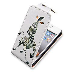 Zebra cartoon Up-Down Turn Over cas Bady complet PU en cuir pour iPhone 4/4S