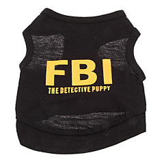 Dog Shirt / T-Shirt Yellow / Black Dog Clothes Summer Police/Military / Letter & Number Holiday / Fashion