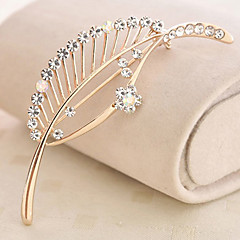 Sweet 7.5cm Women's Gold Alloy Rhinestone broche (Goud) (1 Pc)