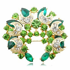 Sweet 5.5Cm Women'S Golden Alloy Crystal Brooch(Green, Blue)(1 Pc)