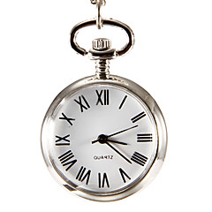 Women's White Surface Silver Alloy Quartz Analog Pocket Watch