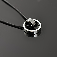 Fashion (Round Pendant) Black Titanium Steel Pendant Necklace(Black) (1 Pc)