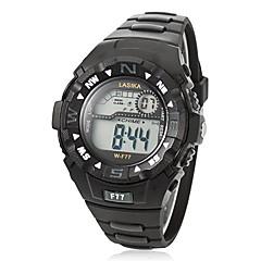 Multifuncional Ronda Hombres Dial Rubber Band LCD reloj de pulsera digital (color surtidos)