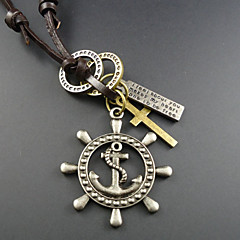 Classic (Geometric Pendant) Brown Leather Vintage Necklace(Silver) (1 Pc)