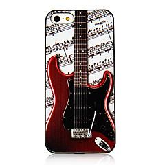 Vivid escuro vermelho da guitarra e Nota Musical Pattern Caso Voltar para o iPhone 5/5S