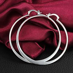 Hoop Earrings Brass Silver Plated Silver Jewelry 2pcs