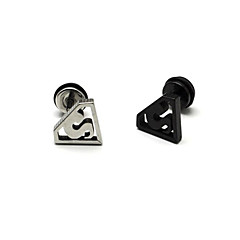 Fashion (Superman Pattern Shape) Multicolor Titanium Steel Stud Earrings(Silver,Black) (1 Pc)