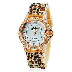 Kvinnors Diamond Gold Case Leopardtryck Silikon Band Quartz armbandsur (blandade färger)