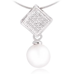 Fashion Square Alloy And Pearl Pendant Necklace