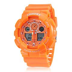 Herren Sportuhr Quartz LCD / Kalender / Chronograph / Duale Zeitzonen Band Schwarz / Weiß / Orange / Grün Marke-