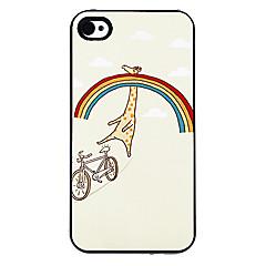 Girafe heureux dans le motif arc-en-Hard Case alumineux pour iPhone 4/4S