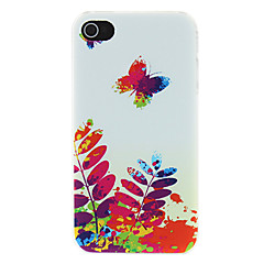 Butterfly and Plants Oil Painting Pattern Matte Designed PC Hard Case for iPhone 4/4S