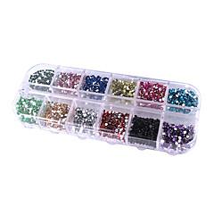 12 색 원형 못 예술 반짝임 팁 장식 모조 다이아몬드